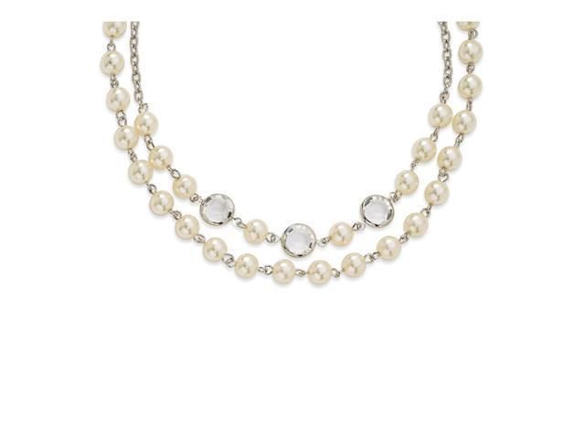 Crystal Bezel/Cultura Glass Pearl 2-Strand Necklace