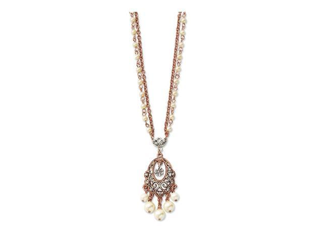 Cultura Glass Pearl/Crystal Dbl Chain 16in Necklace