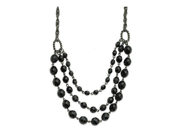 Faceted Jet Bead 3-Strand Bib 15
