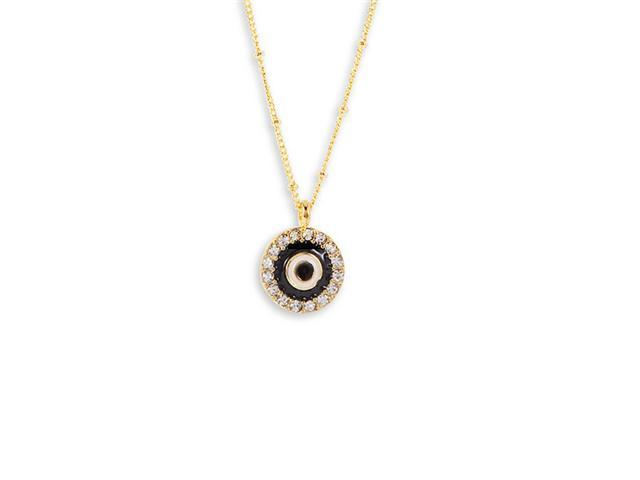 White CZ Gold Tone Black White Enamel Pendant Necklace