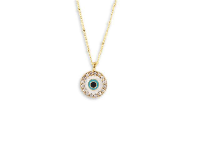 Black Light Blue Enamel White CZ Gold Tone Necklace