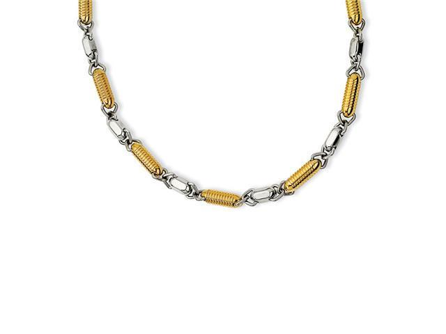 Mens Spring Link Gold Plated Stainless Steel Necklace