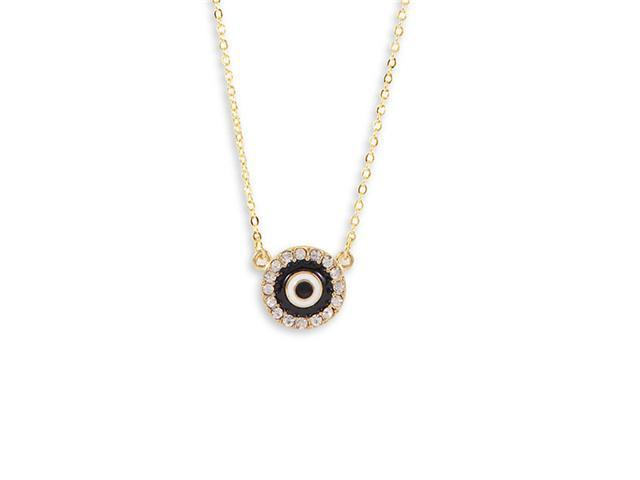 Polished Gold Tone Black White Enamel CZ Round Necklace