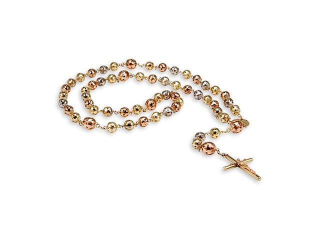 14k Yellow White Rose Gold Round Beaded Rosary Necklace