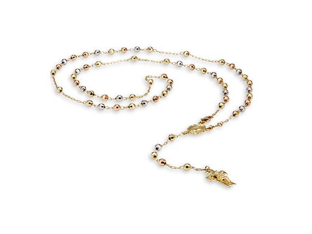 14k Yellow White Rose Gold Crucifix Rosary Necklace