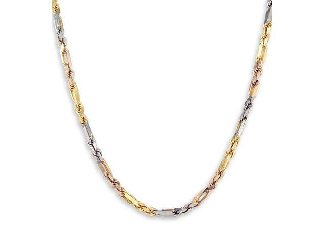 14k Yellow White Rose Gold Oval Rope Link Necklace