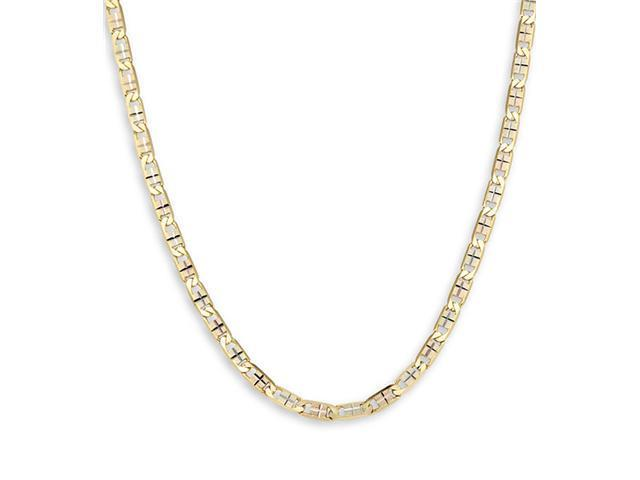 14k Tri-Color Gold Valentino Chain Link Necklace 3.8mm