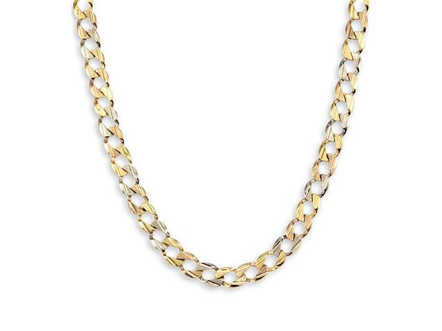14k Yellow White Rose Gold Curb Link Chain Necklace