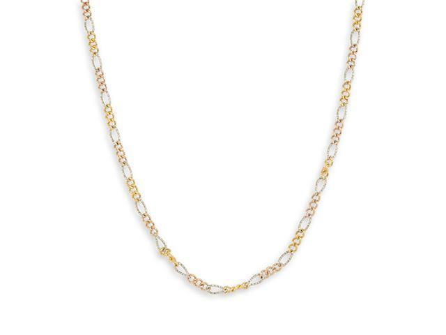 14k Tri-Color Gold Figaro Chain Link New Necklace 3.6mm
