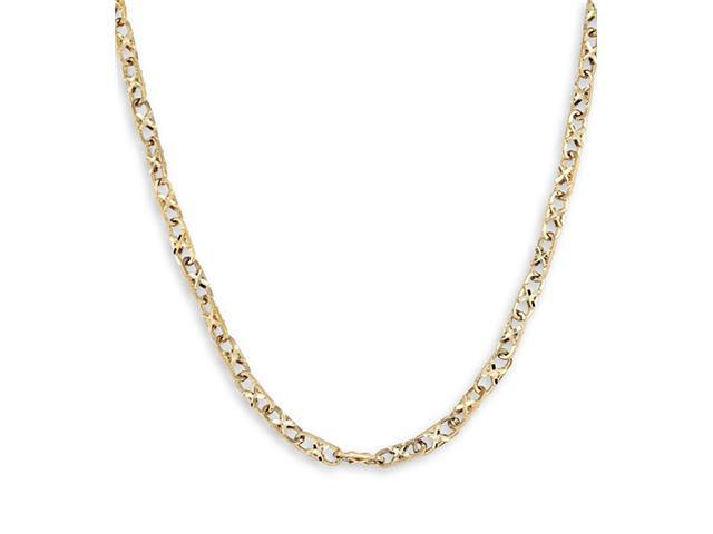 14k Solid Gold Oval Link Criss Cross Chain Necklace