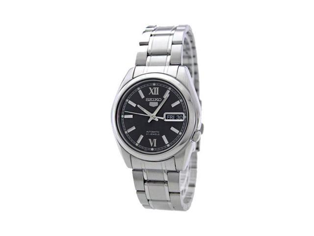 Seiko Black Dial Stainless Steel Mens Watch SNKL55