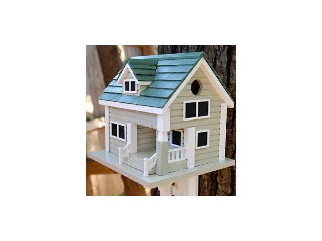Home Bazaar Bungalow Birdhouse - Grey with Green Roof - HB-2040