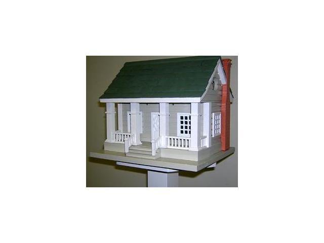 Home Bazaar Arts & Crafts Birdhouse - Grey with Green Roof - HB-2064