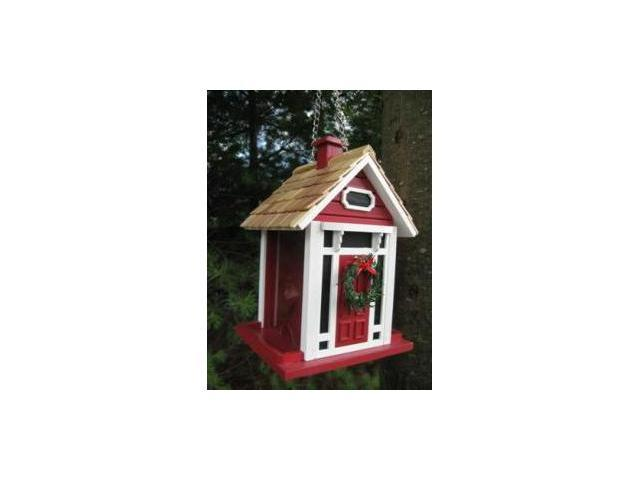Home Bazaar Christmas Cottage Birdfeeder - Red - HB-9033CRS
