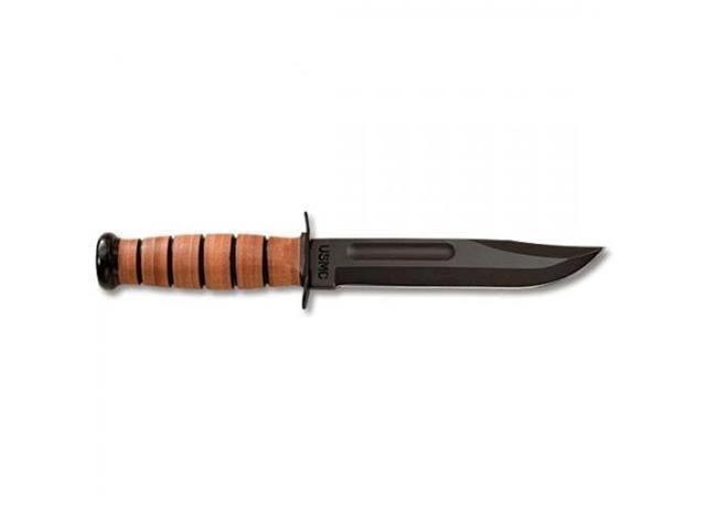 Ka-bar Knives USMC - Straight Edge Fixed Blade Knife with Leather Sheath