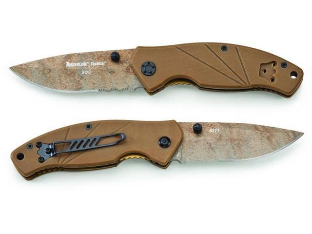 Timberline Knives SOC Coyote Tan Workhorse Combo Edge Pocket Knife