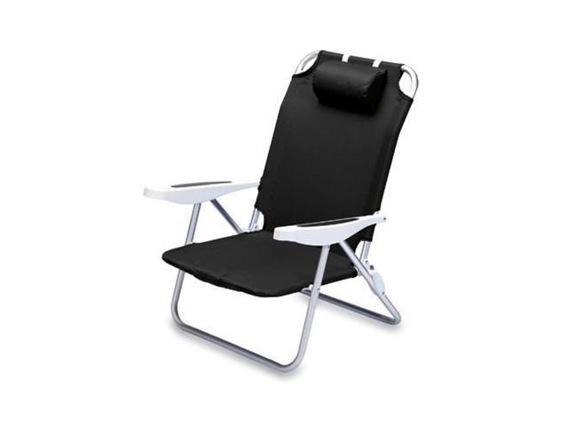 Picnic Time Monaco Beach Chair, Black
