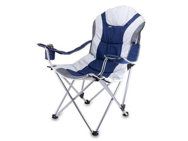 Picnic Time Reclining Camp Chair, Navy and Gray