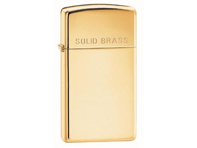 Zippo Slim High Polish w/ Engraved Solid Brass Lighter