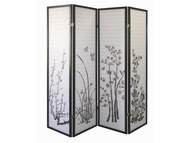 Floral 4-Panel Room Divider