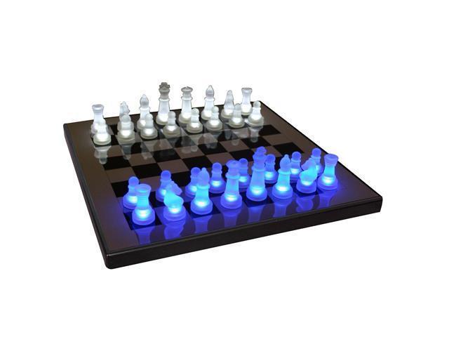 LumiSource LED Glow Chess Set in Blue & White - SUP-LEDCHES-BW