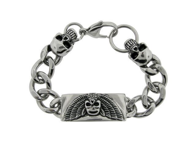 Men'S Stainless Steel Black Ion Plating Skull Bracelet