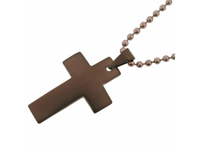 Men's Stainless Steel Cross Pendant with Chocolate Ionic Plating