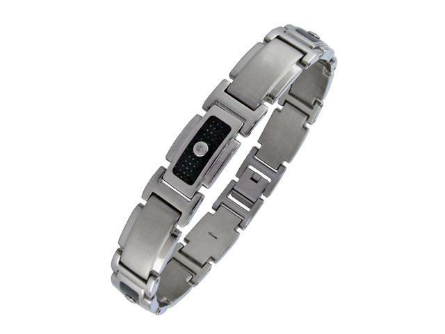 Men's Stainless Steel Bracelet with Carbon and 1/10 CTTW Diamond