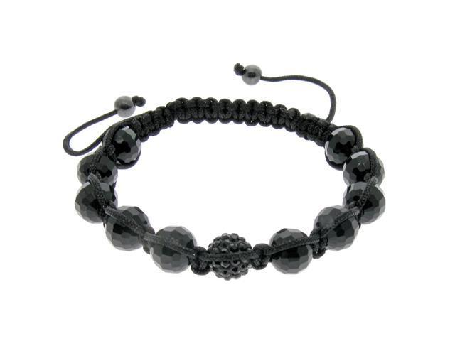 Black Crystal & Black Bead Adjustable Bracelet