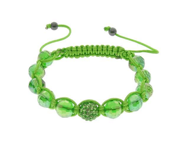 Green Crystal & Green Bead Bracelet on Adjustable Green String
