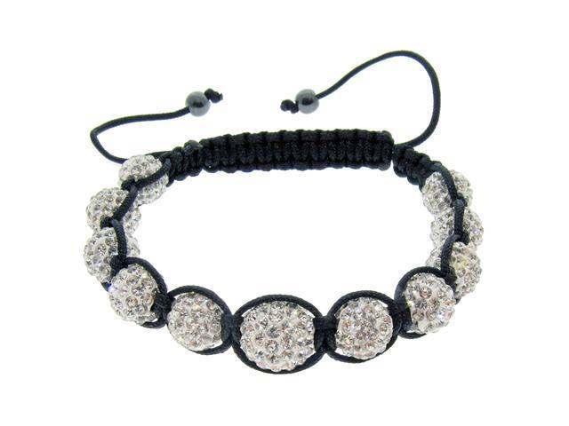 White Crystals on Black String Bracelet