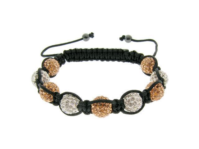 Rose & White Crystals on Black String Bracelet