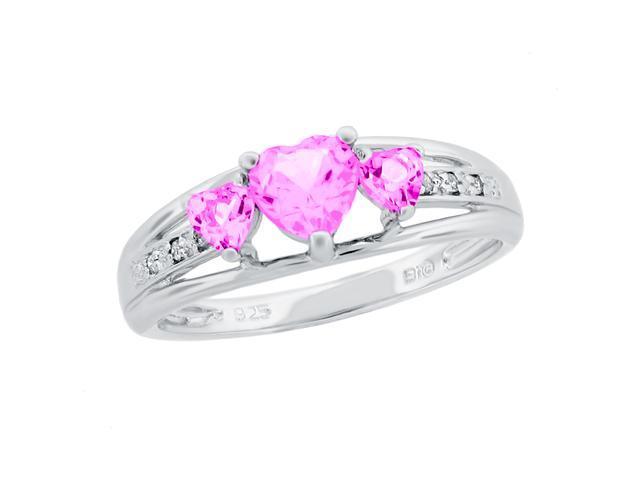 Heart Shape Created Pink Sapphire & Diamond Ring