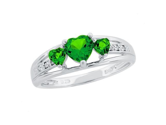 Heart Shape Created Emerald & Diamond Ring