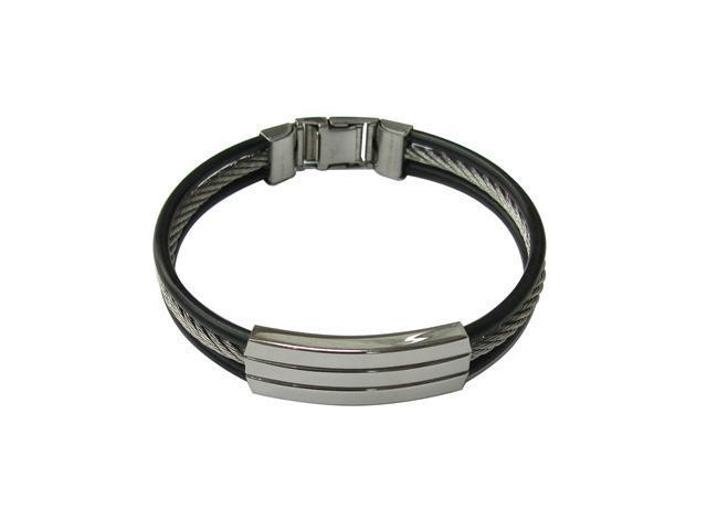 Men's Stainless Steel Bracelet with Cable