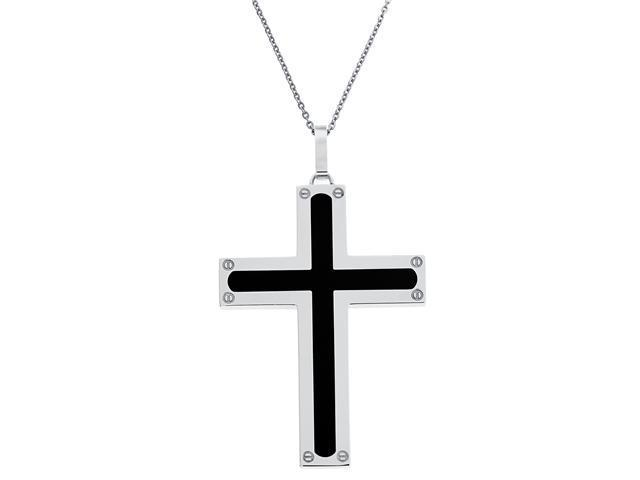 Men's Stainless Steel Cross With Resin