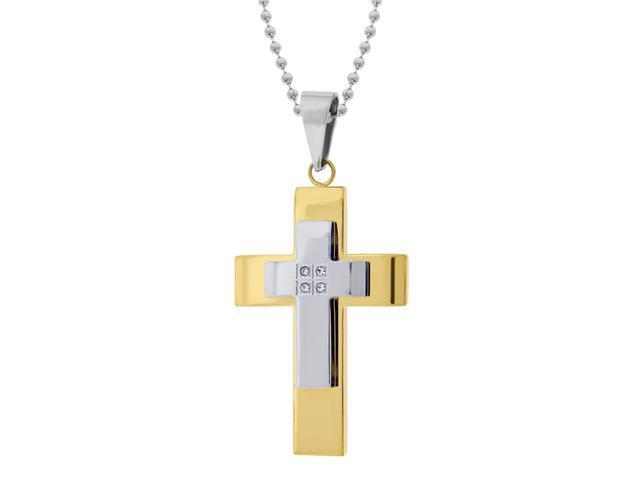 Men's Stainless Steel Double Layer Cross with Gold Ion Plating & Cubic Zirconia