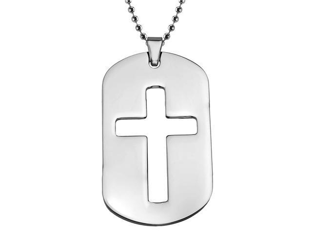 Men's Stainless Steel Dog Tag with Cross Design