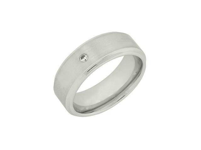Men's Bezel Cobalt Ring with .01 TW Diamond, Sizes 8-12