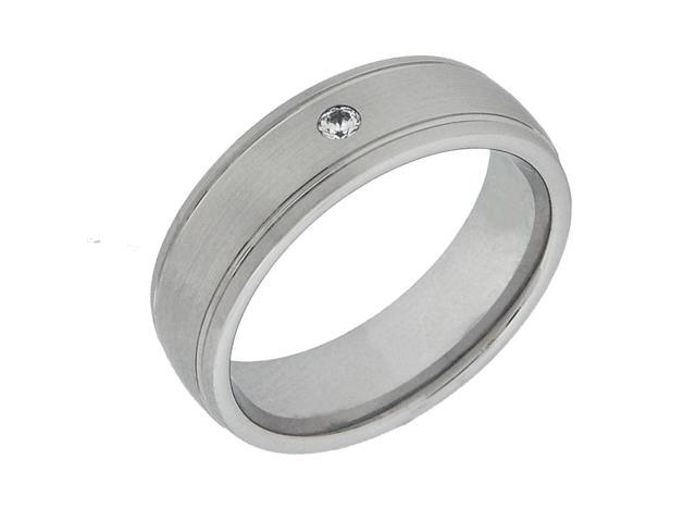 Men's 7mm Grooved Cobalt Ring with .01 TW Diamond, Sizes 8-12