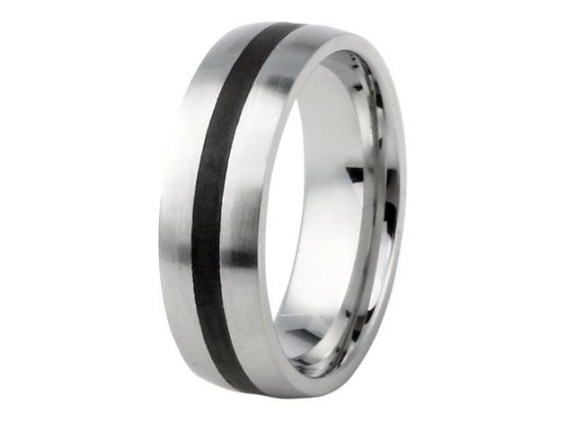 Men's 7mm Black Ion Plated Center in Stainless Steel Ring, Sizes 8-12