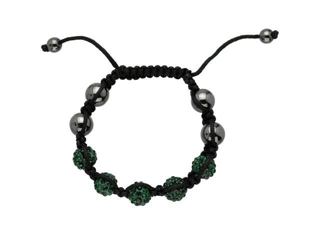 Green Crystals on Black String Adjustable Bracelet