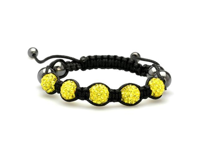 Neon Yellow Crystals on Black String Adjustable Bracelet