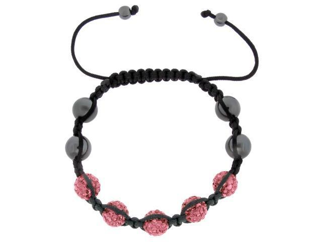 Pink Crystals on Black String Adjustable Bracelet