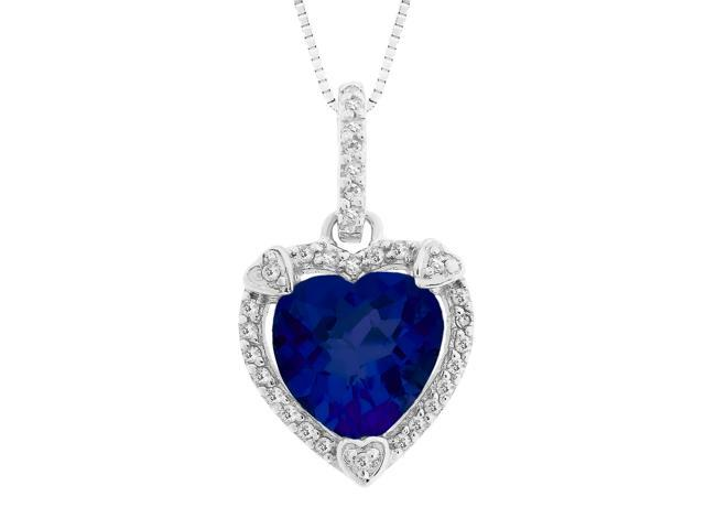 Heart Shape Created Sapphire Pendant in Sterling Silver