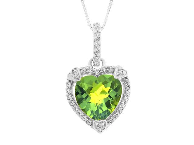 Heart Shape Peridot Pendant in Sterling Silver
