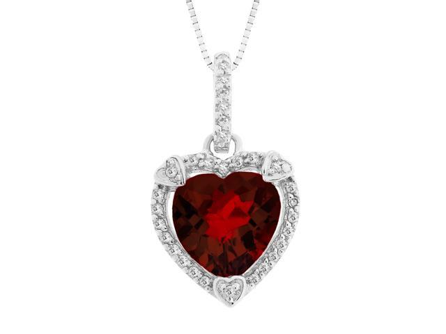 Heart Shape Garnet Pendant in Sterling Silver