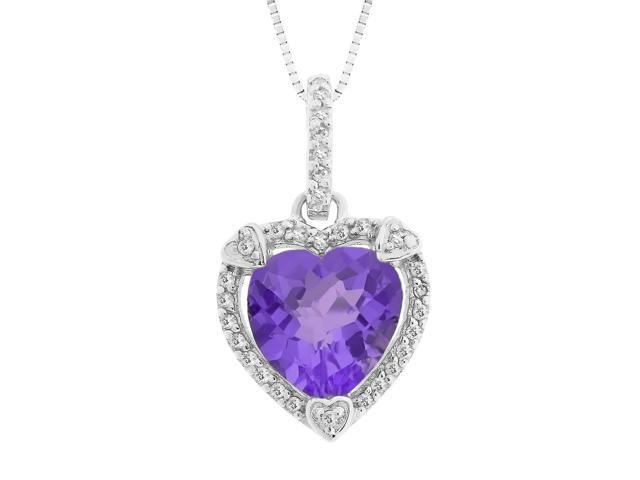 Heart Shape Amethyst Pendant in Sterling Silver