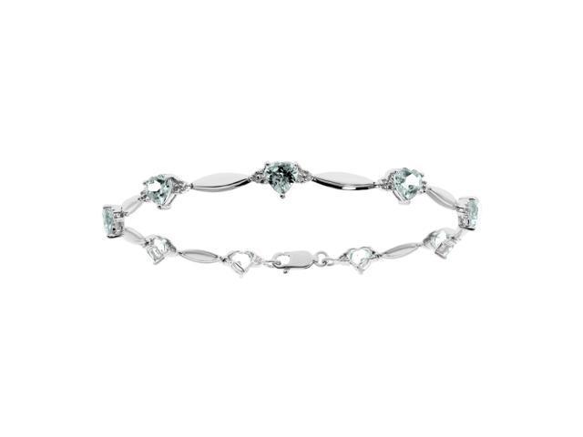 Heart Shape Aquamarine Bracelet in Sterling Silver