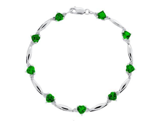 Heart Shape Created Emerald Bracelet in Sterling Silver